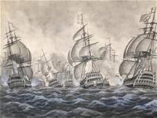 19thc Signed Watercolor Painting Naval Battle
