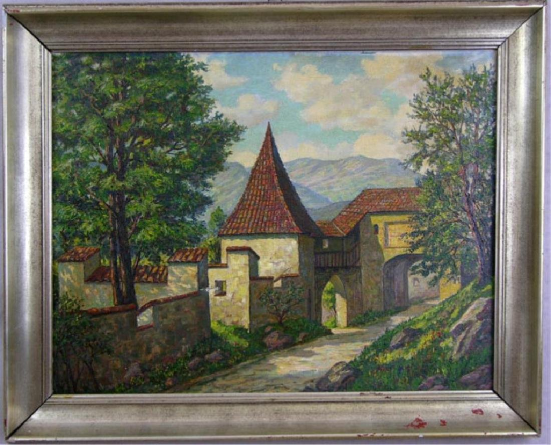 Attrib To Karl Sawert, German Village Oil Painting