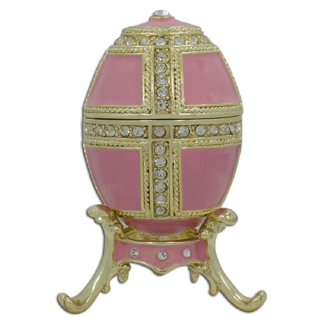 "Faberge Inspired 2.75"" Pink Enamel 1890 Danish Palaces"