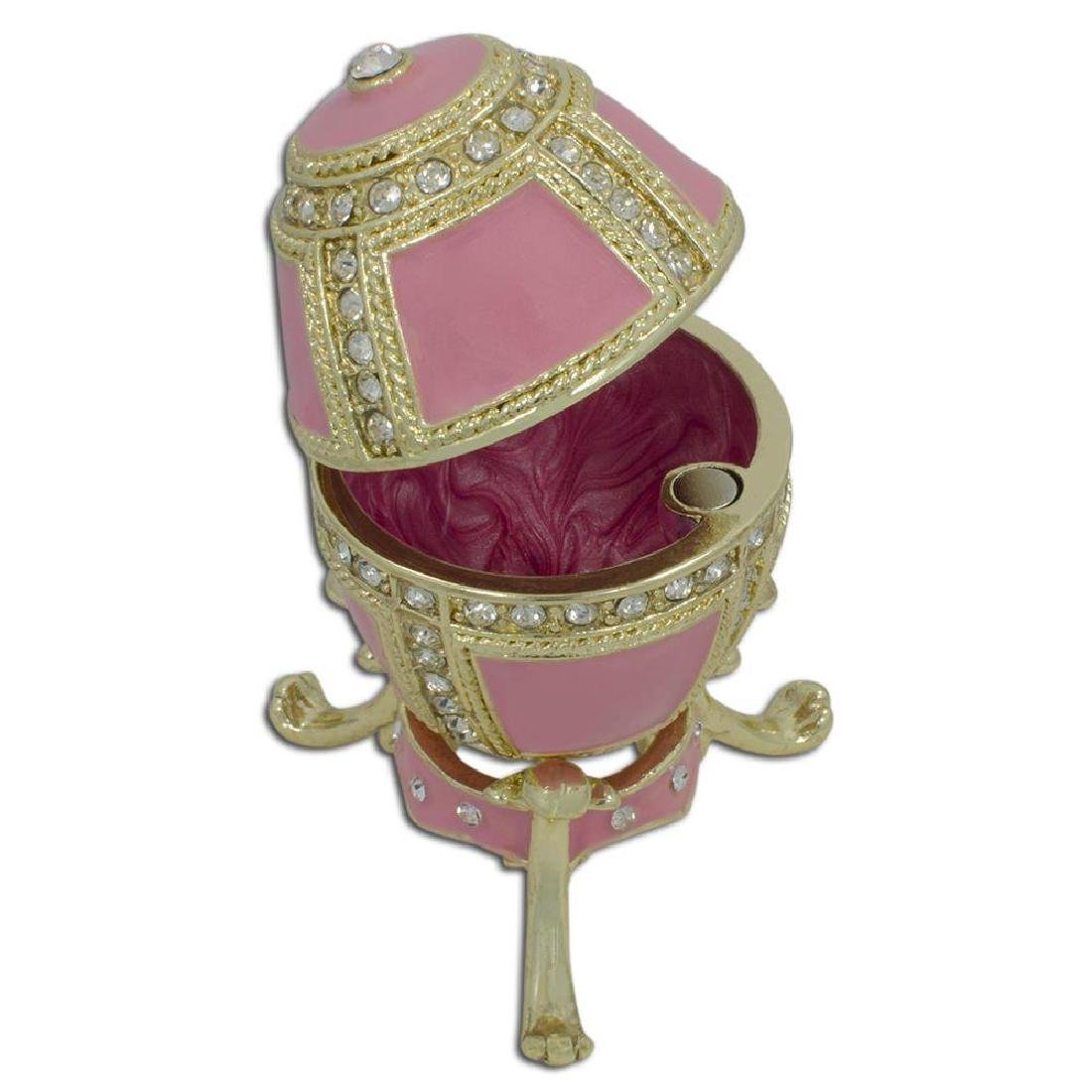"Faberge Inspired 2.75"" Pink Enamel 1890 Danish Palaces - 2"