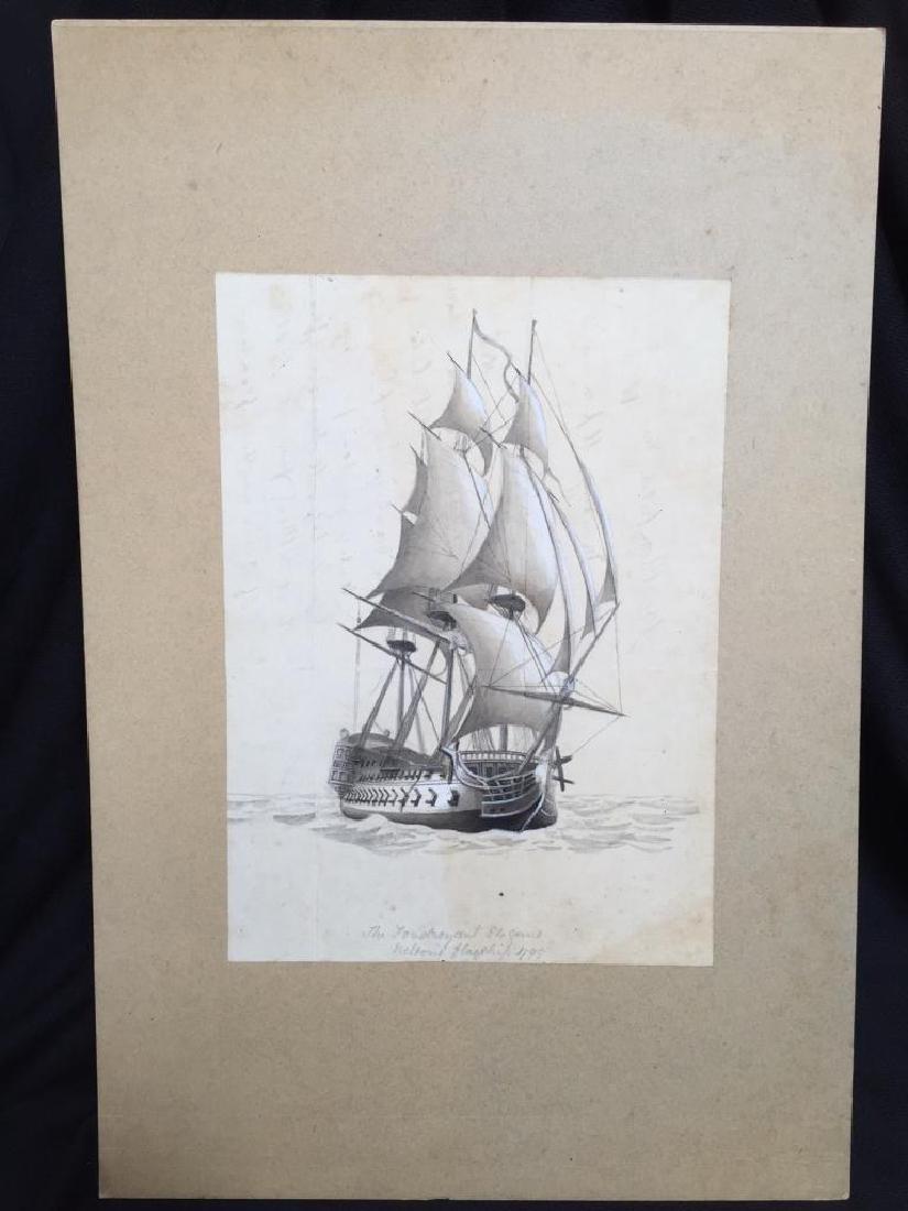 c1890 Signed H. Fletcher, Maritime Watercolor - 2