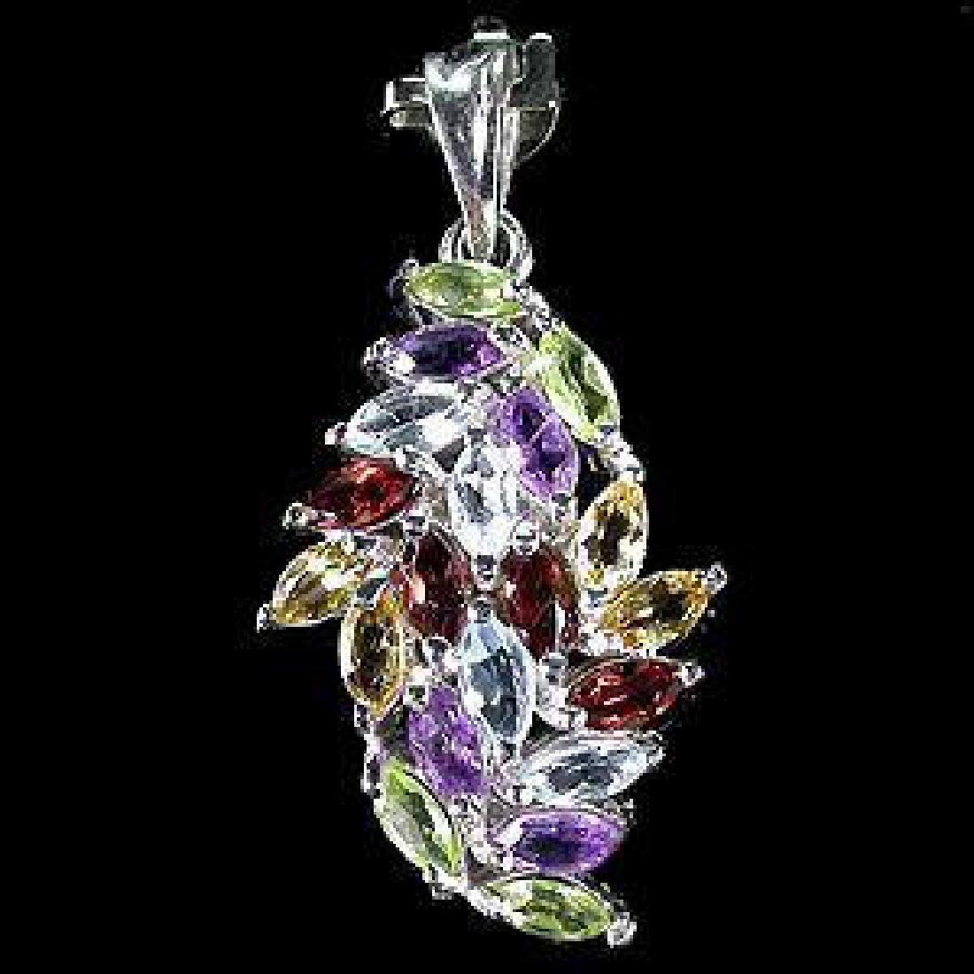 Rainbow Marquise Multi-Gemstone Pendant