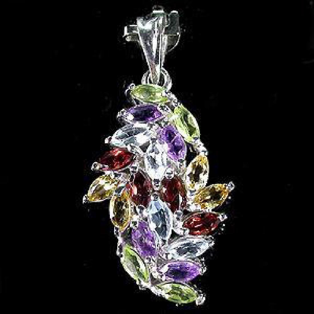 Rainbow Marquise Multi-Gemstone Pendant - 2