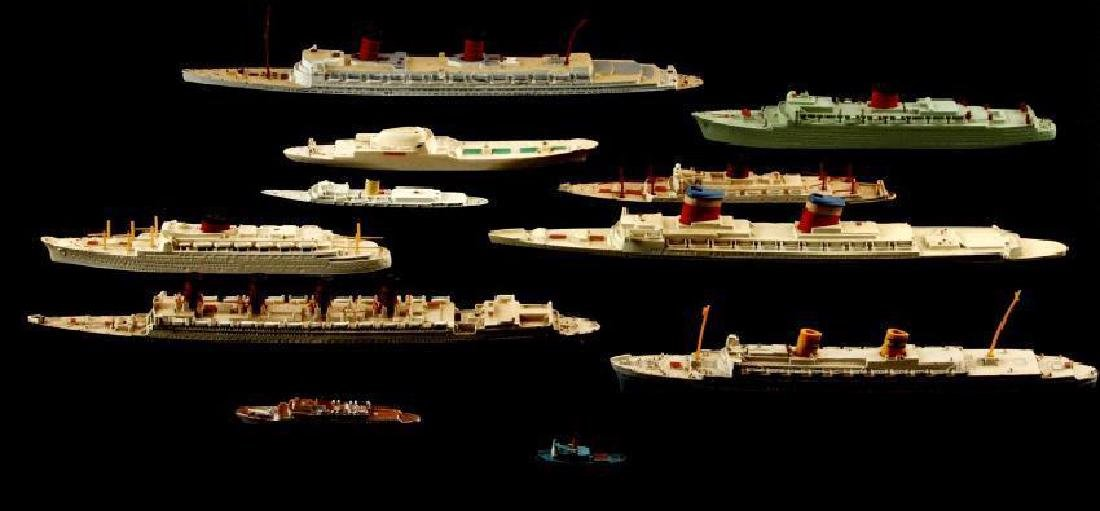 Lot of 11 Vintage Triang Model Ships Circa 1950s
