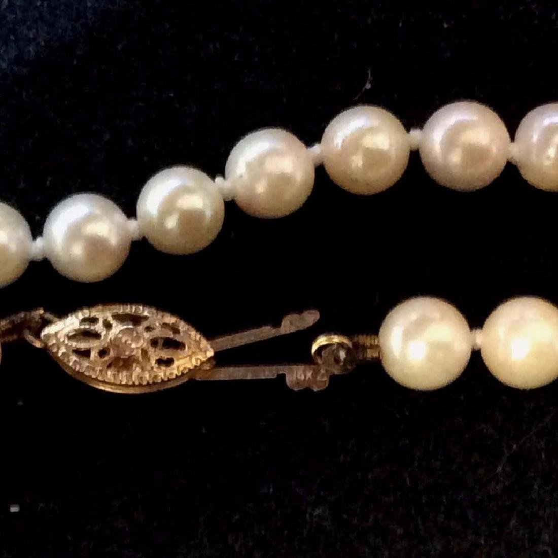 Vintage-14k-yellow-clasp-quality-pearl-necklace - 2