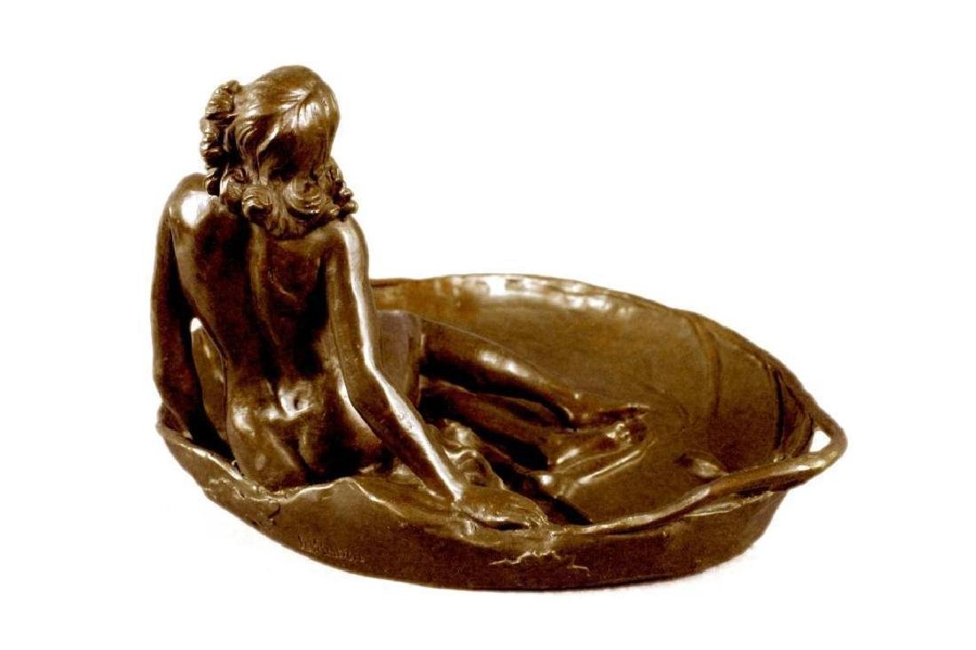 Art Nouveau Bronze, Nude Girl Lily Pad Dish Tray - 5