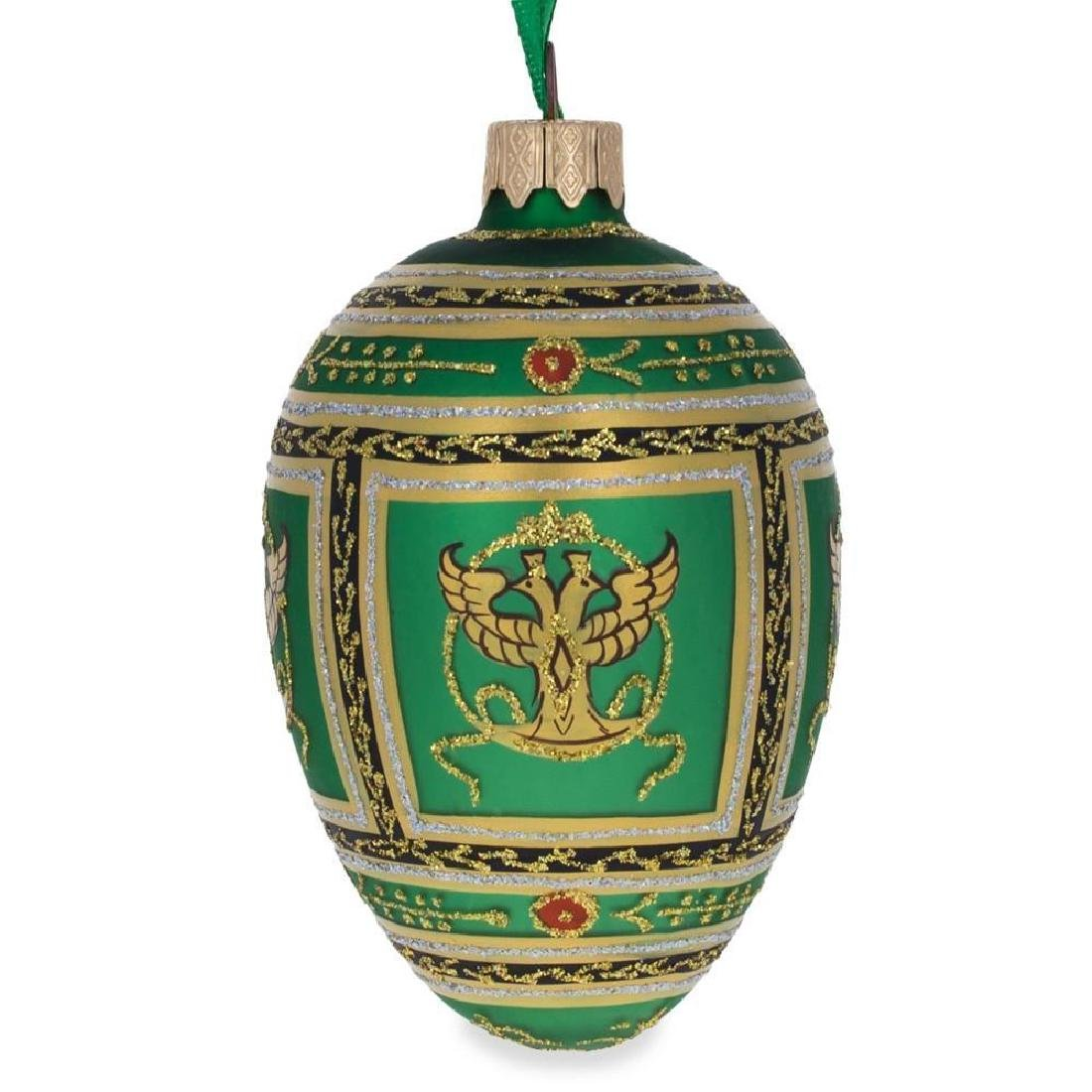 "3.5"" Napoleonic Faberge Egg Glass Christmas Ornament"