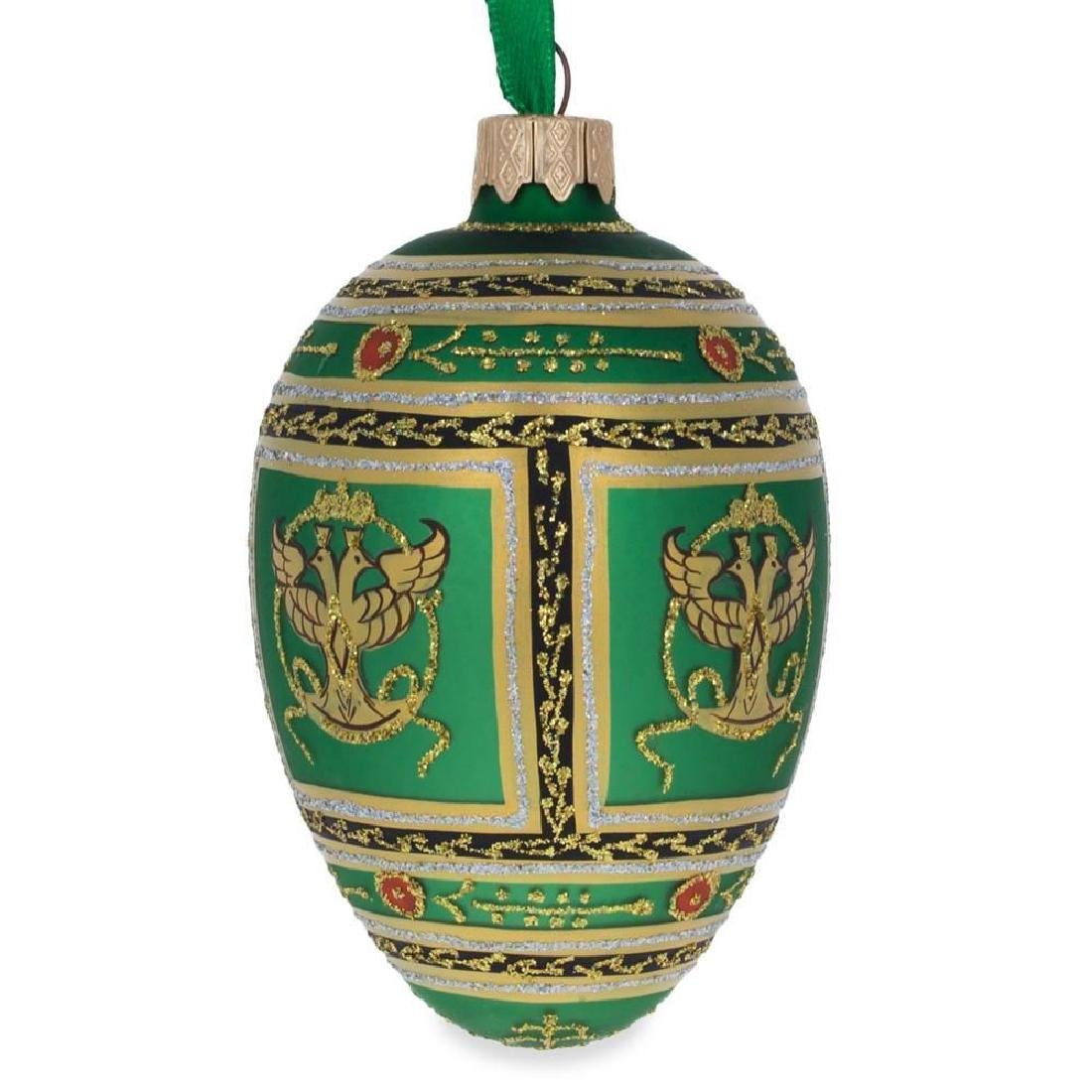"3.5"" Napoleonic Faberge Egg Glass Christmas Ornament - 2"