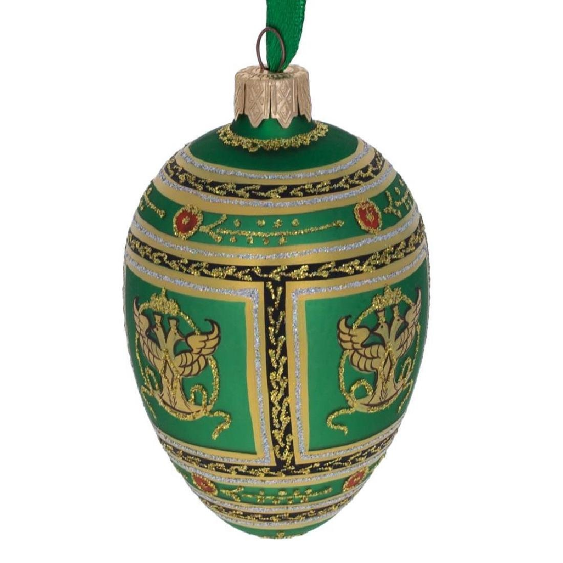 "3.5"" Napoleonic Faberge Egg Glass Christmas Ornament - 3"