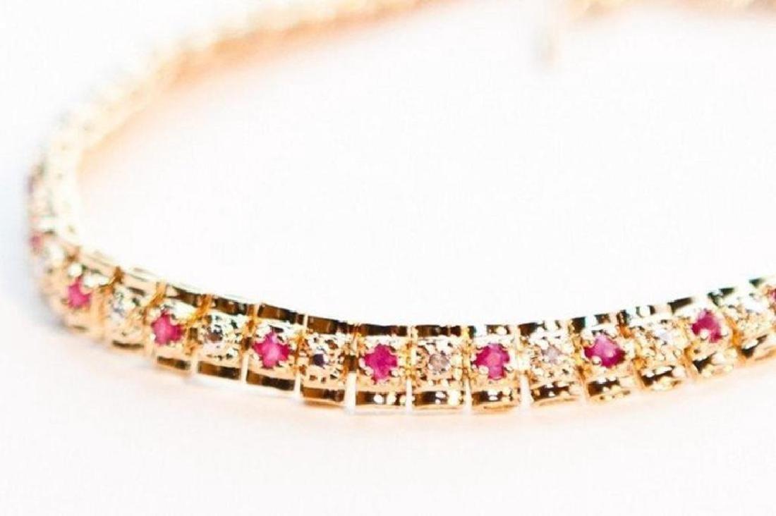 Ruby & Diamond Tennis Bracelet - 2