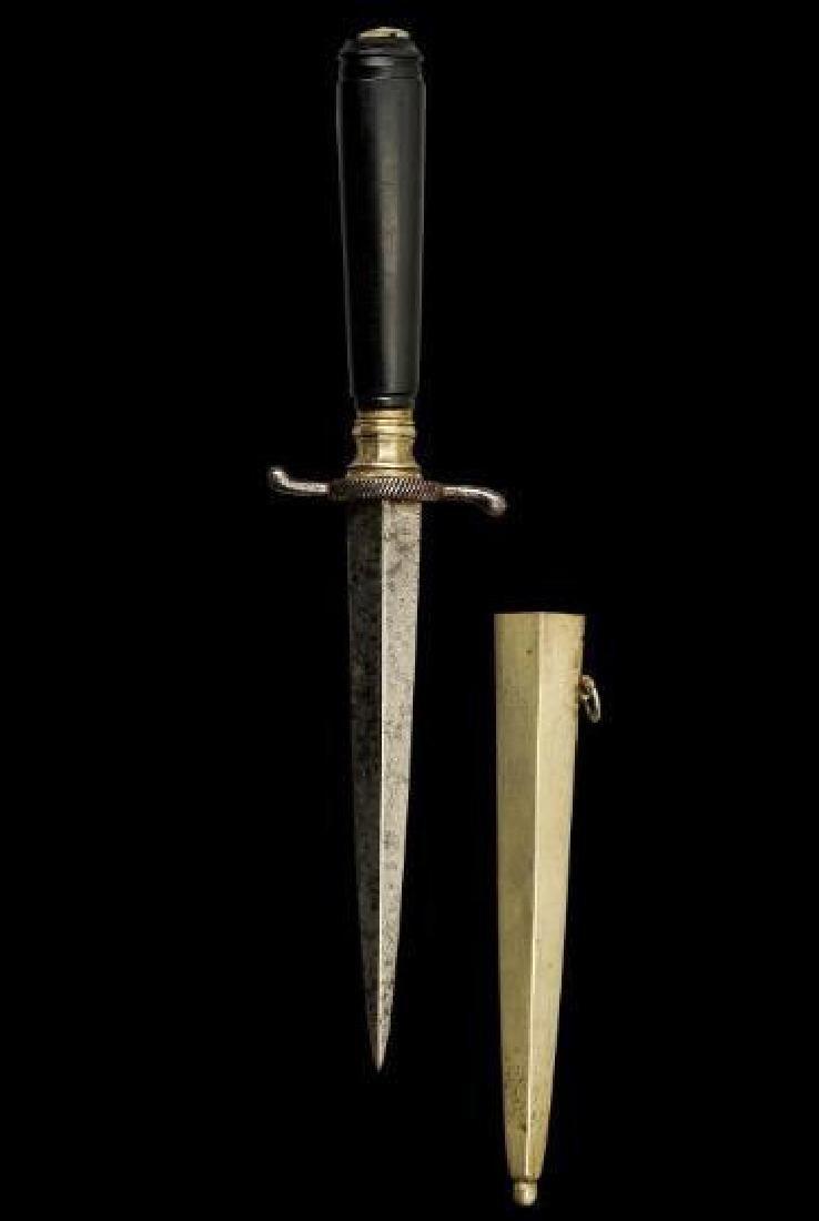 19thc Ebony Armor Piercing Dagger