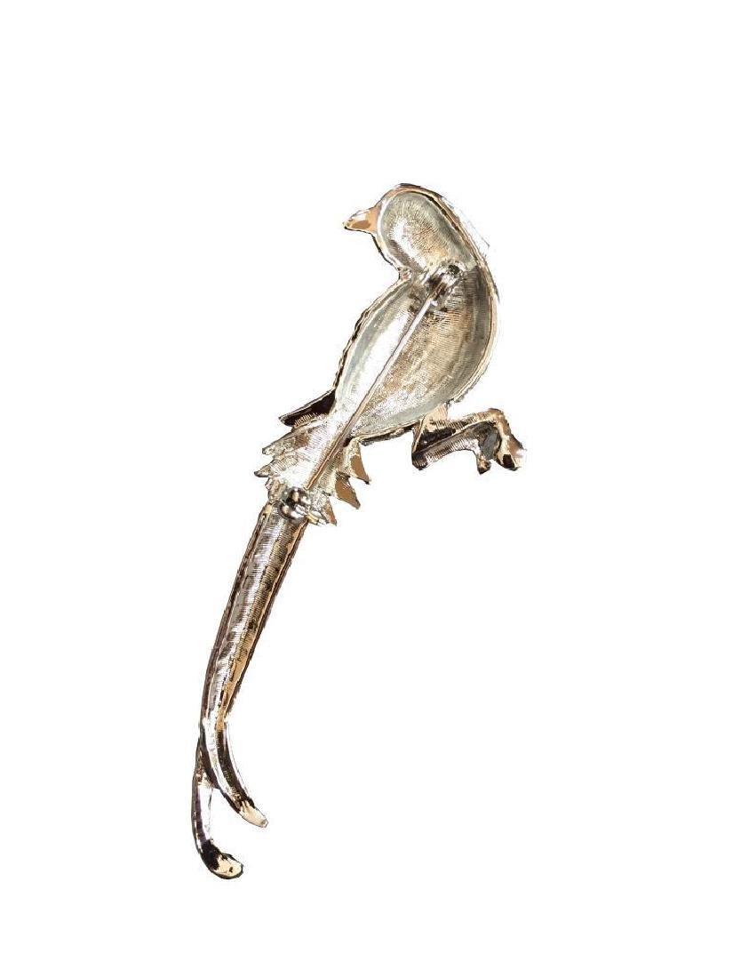 Austrian Crystal Enameled Bird Brooch Pin - 2