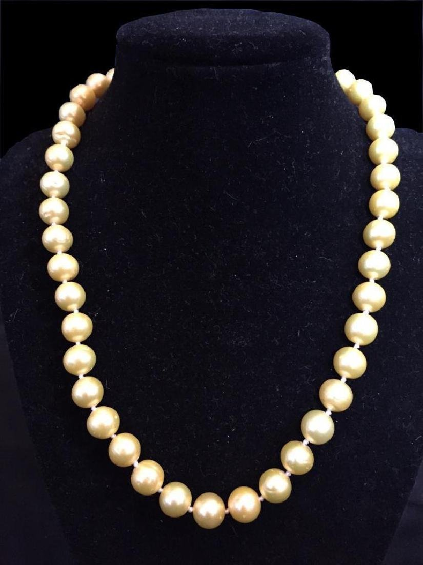 Akoya Cream Yellow Pearls 14kt Gold Necklace