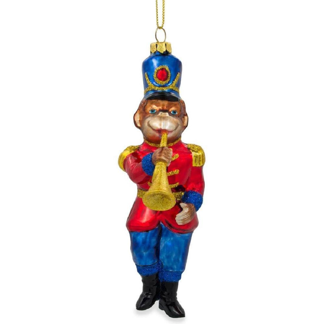 "6"" Monkey Nutcracker with Trumpet Blown Glass Christmas"