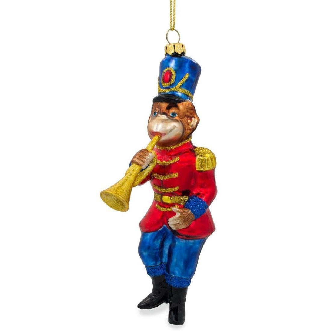 "6"" Monkey Nutcracker with Trumpet Blown Glass Christmas - 2"