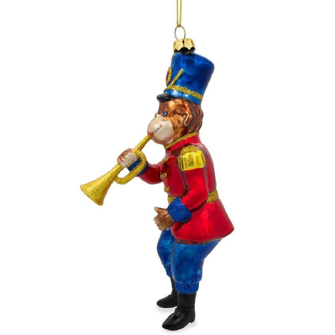 "6"" Monkey Nutcracker with Trumpet Blown Glass Christmas - 3"