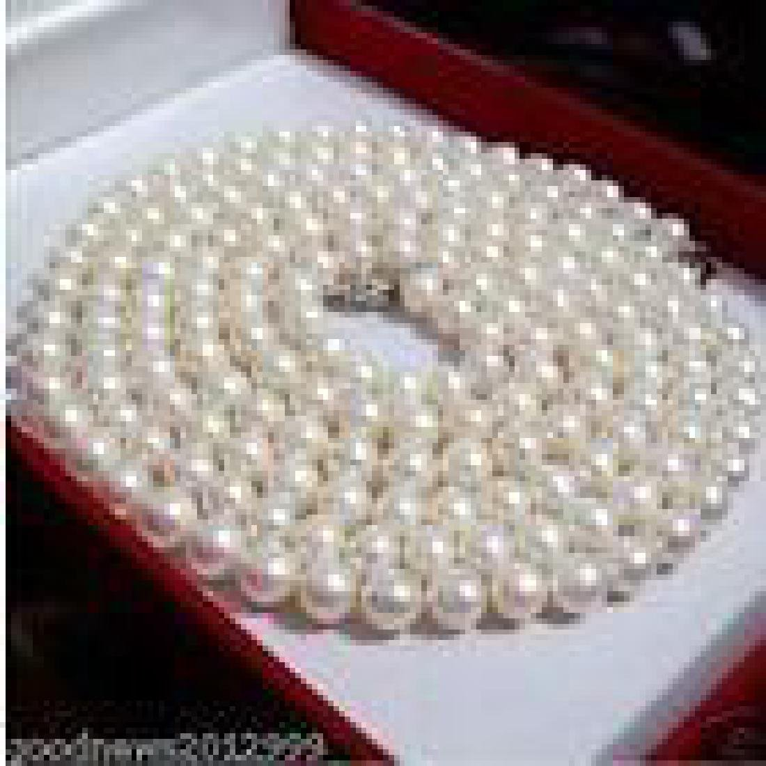 "36"" Round White Cream Akoya Pearl 14kt Gold Necklace"