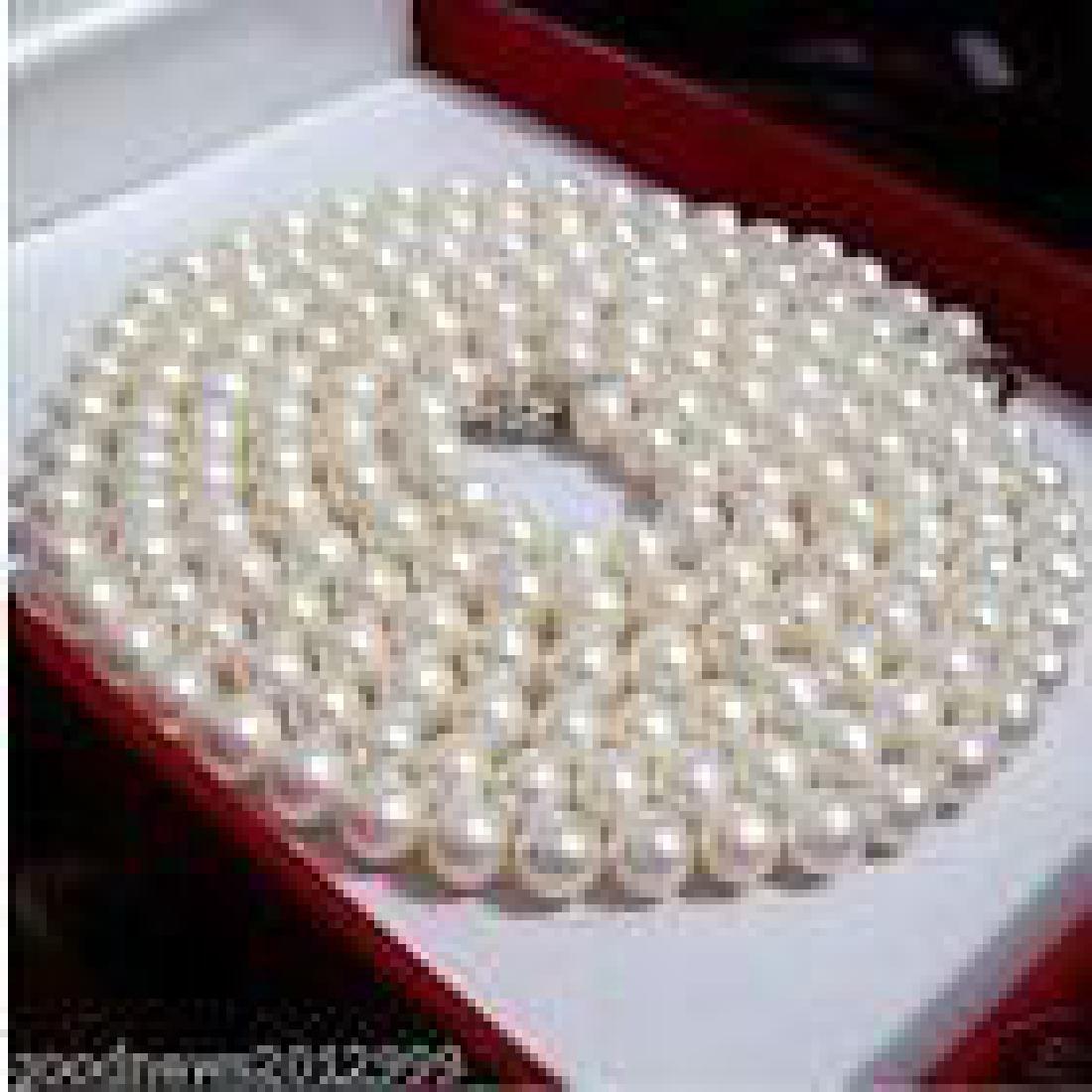 "36"" Round White Cream Akoya Pearl 14kt Gold Necklace"