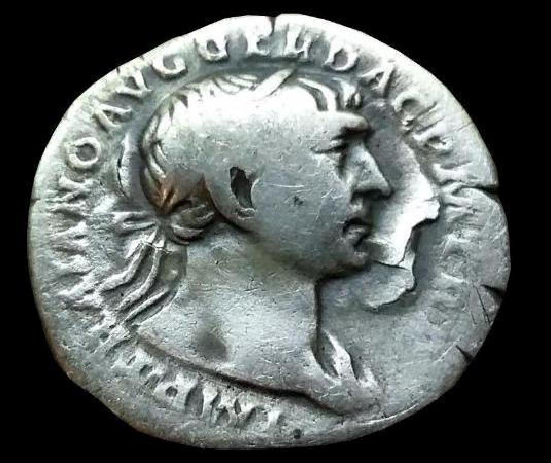 Original Antique Coin Silver Trajan Traianus Roman