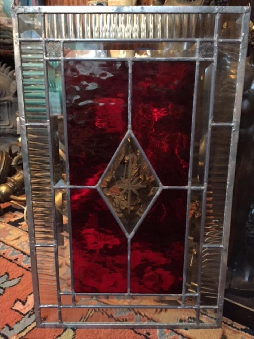 Gothic Red Stained Glass Window Hanging