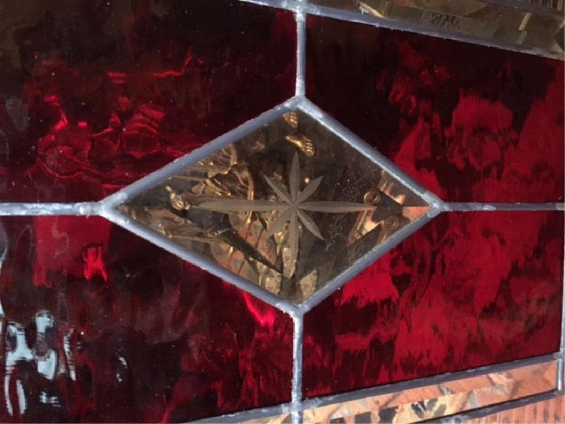 Gothic Red Stained Glass Window Hanging - 2