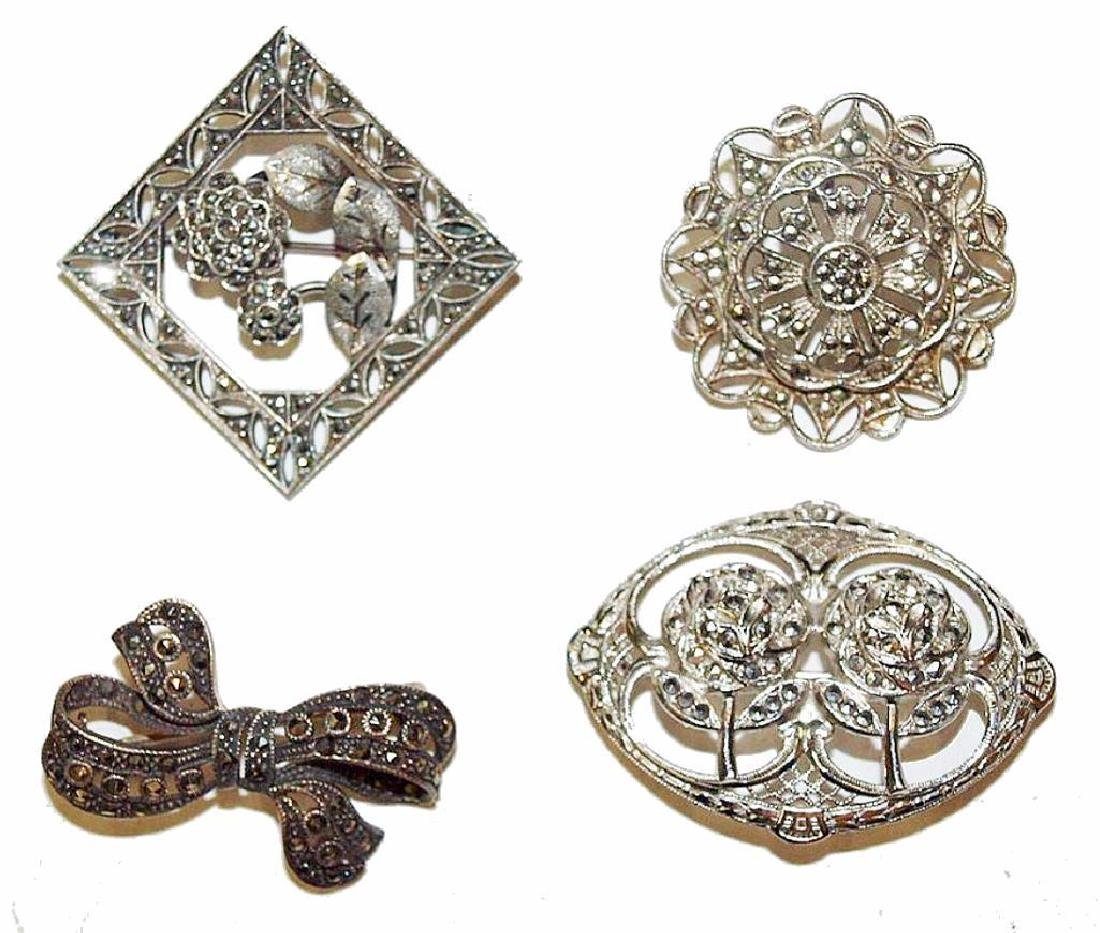 Grouping Of Circa 1920 Marcasite Brooches