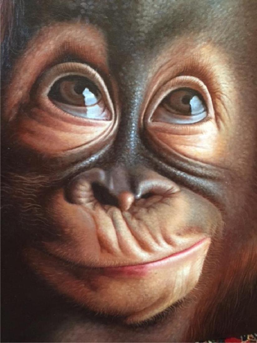 Contemporary Cute Baby Orangutan Oil Painting