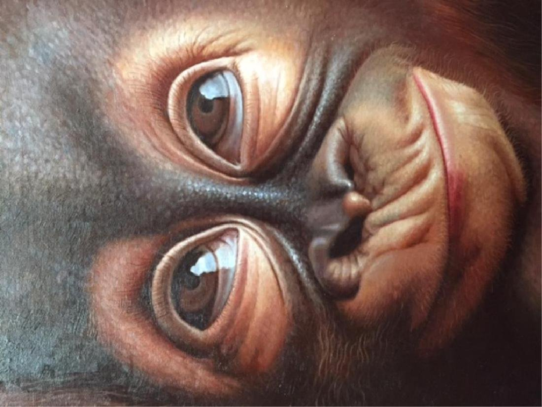 Contemporary Cute Baby Orangutan Oil Painting - 3