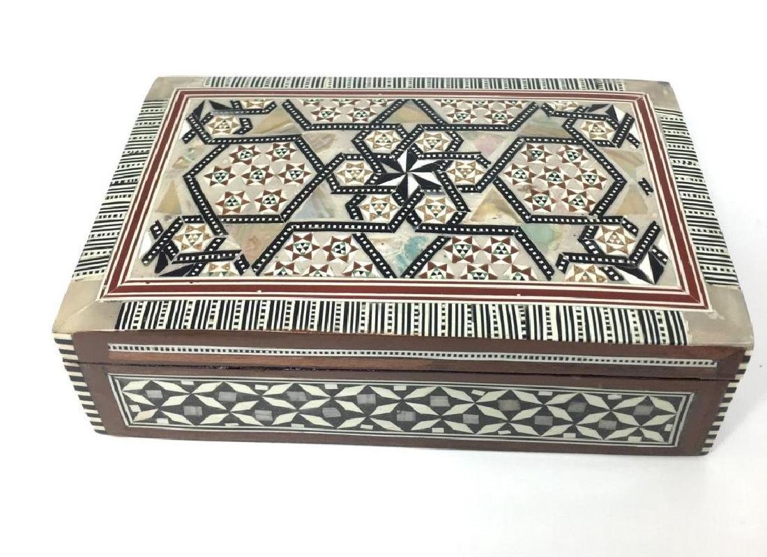 Egyptian Mother Of Pearl Inlaid Jewel Trinket Box