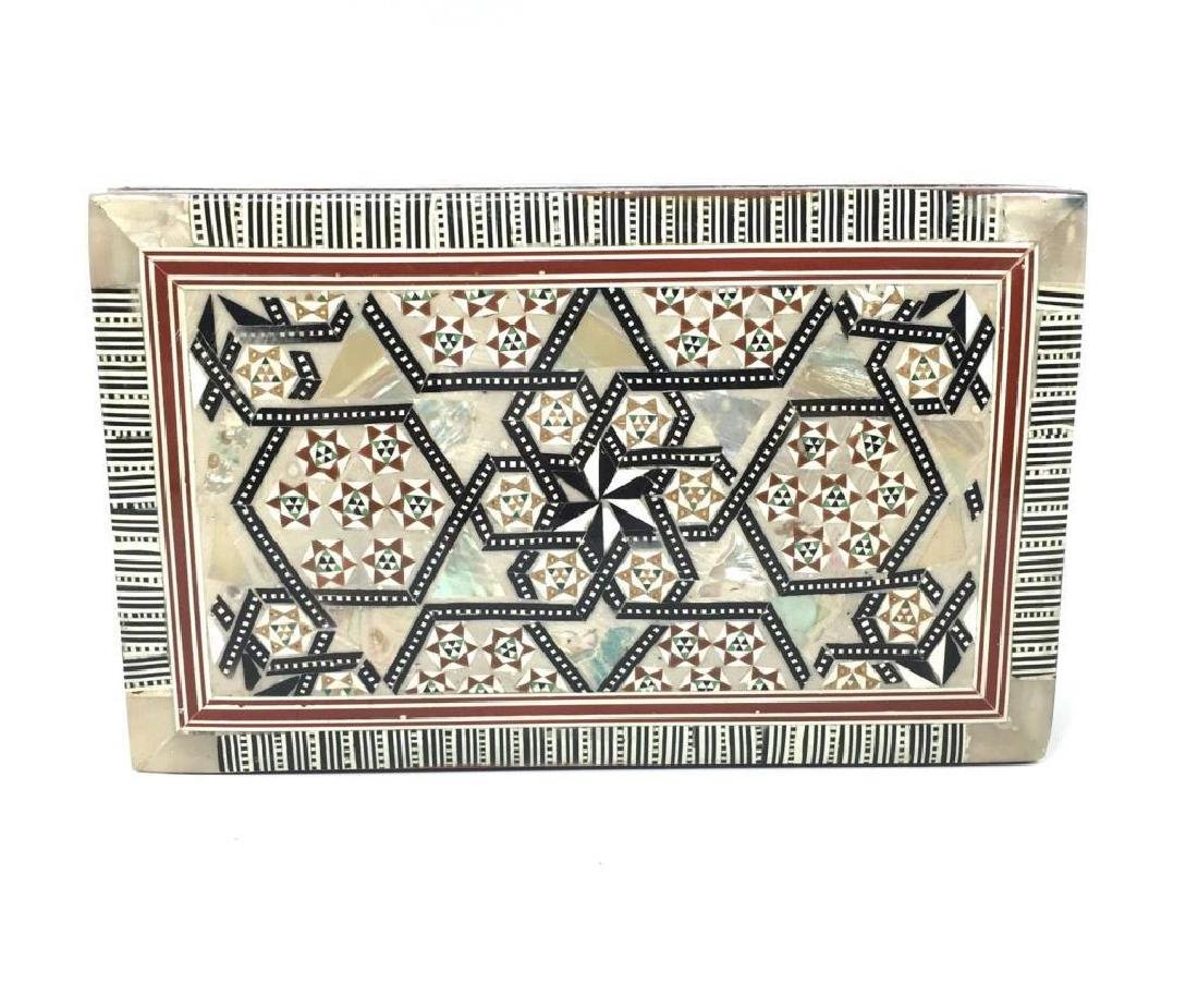 Egyptian Mother Of Pearl Inlaid Jewel Trinket Box - 2