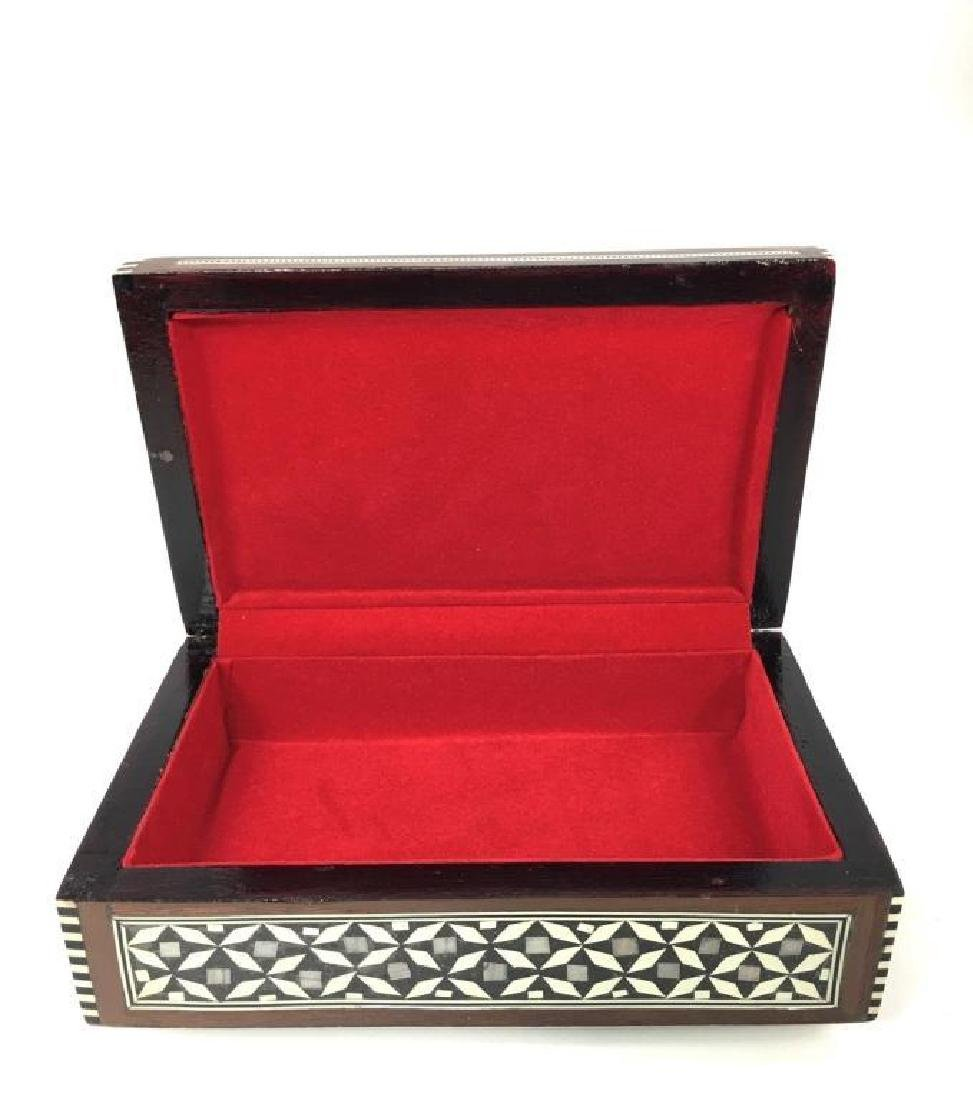 Egyptian Mother Of Pearl Inlaid Jewel Trinket Box - 3