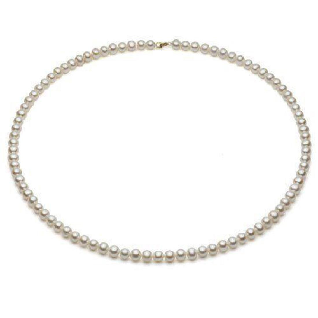 14k Yellow Gold 5-6mm White Freshwater Pearl High