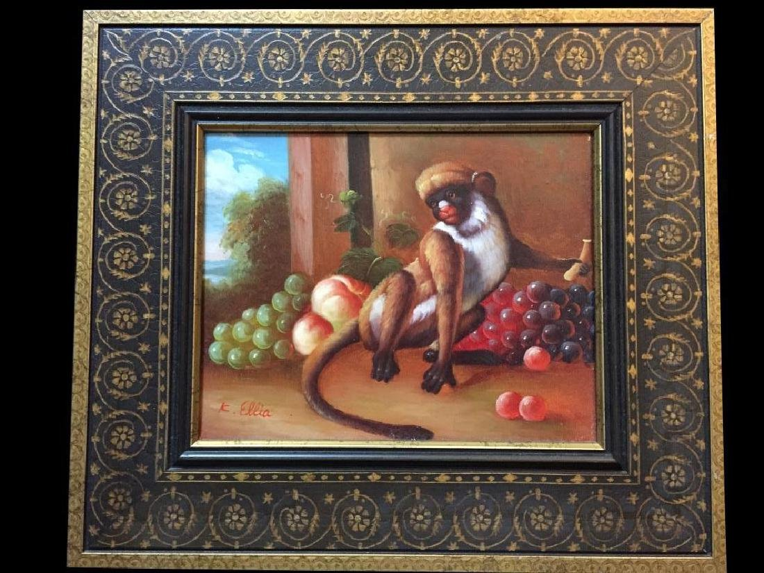 Signed Oil Painting, Still Life Monkey With Fruit