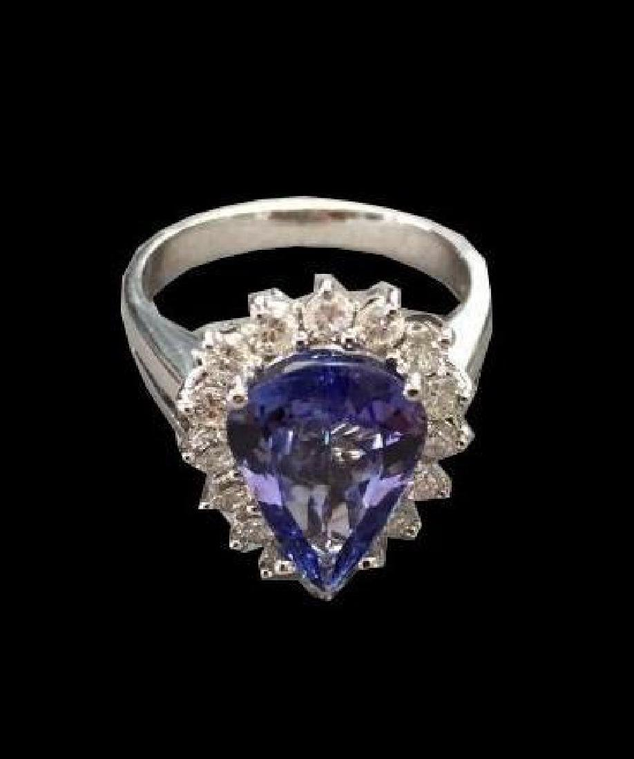 3.14ct Tanzanite & Diamond 14kt White Gold Ring