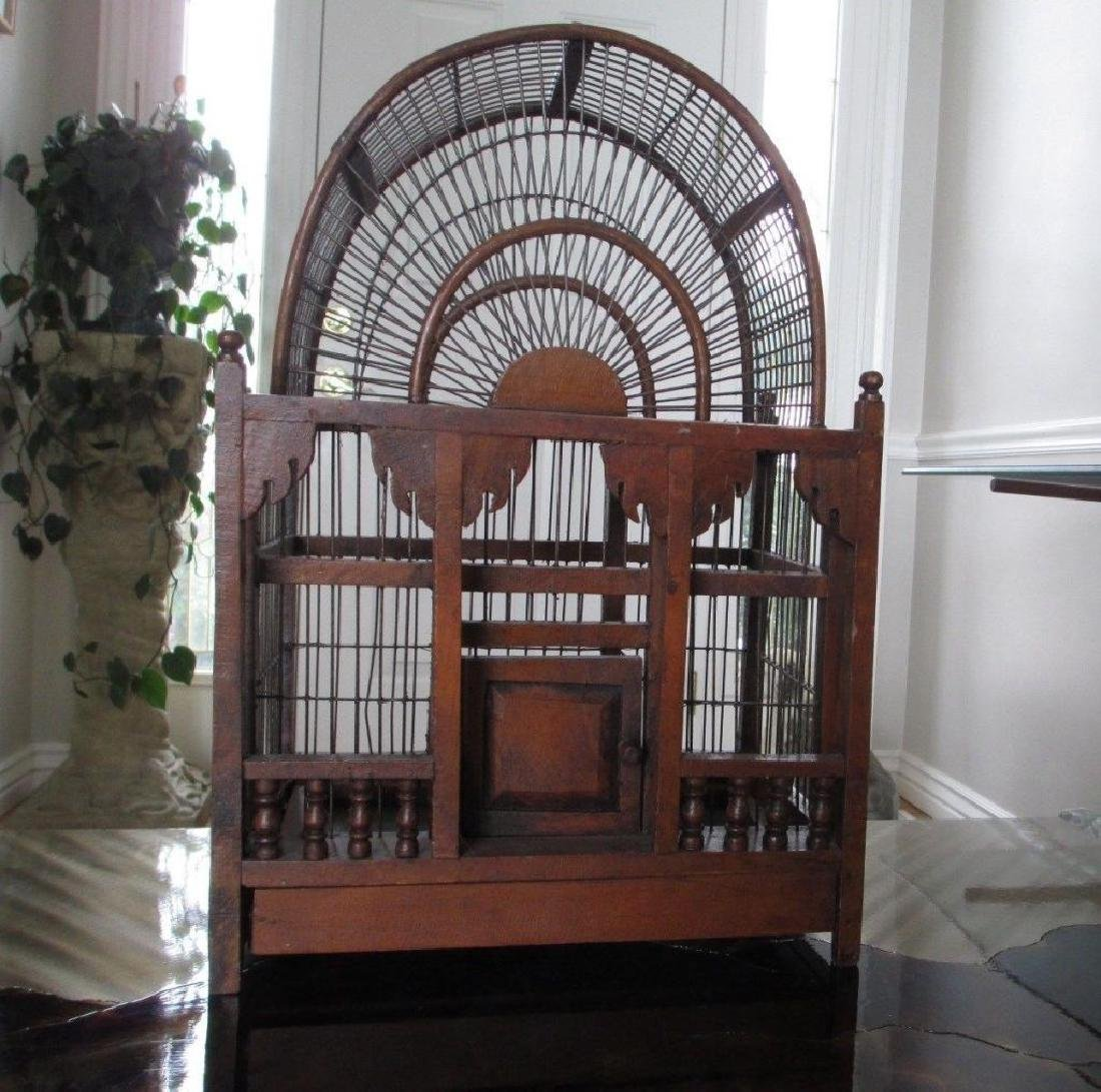 Rare Victorian Wooden Bird Cage - 2