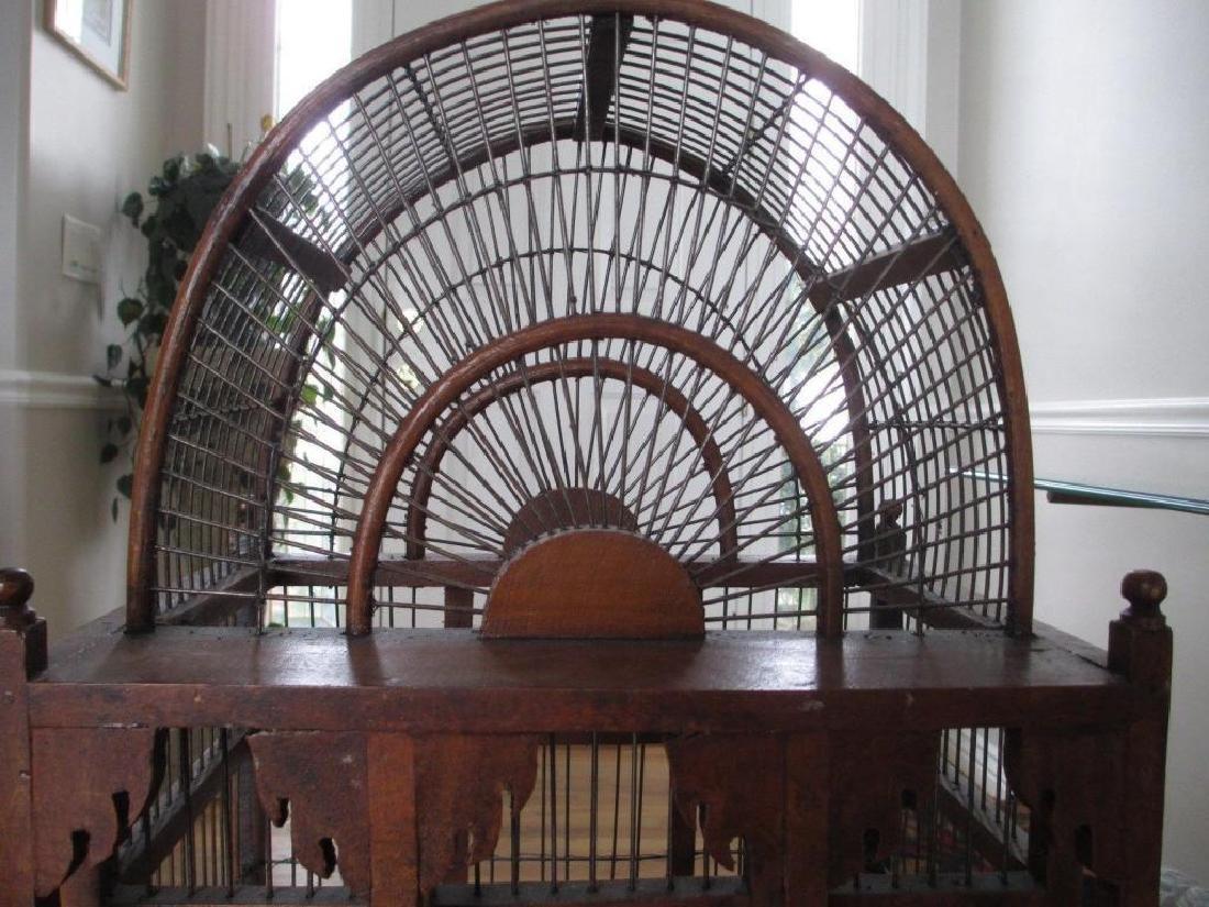 Rare Victorian Wooden Bird Cage - 3