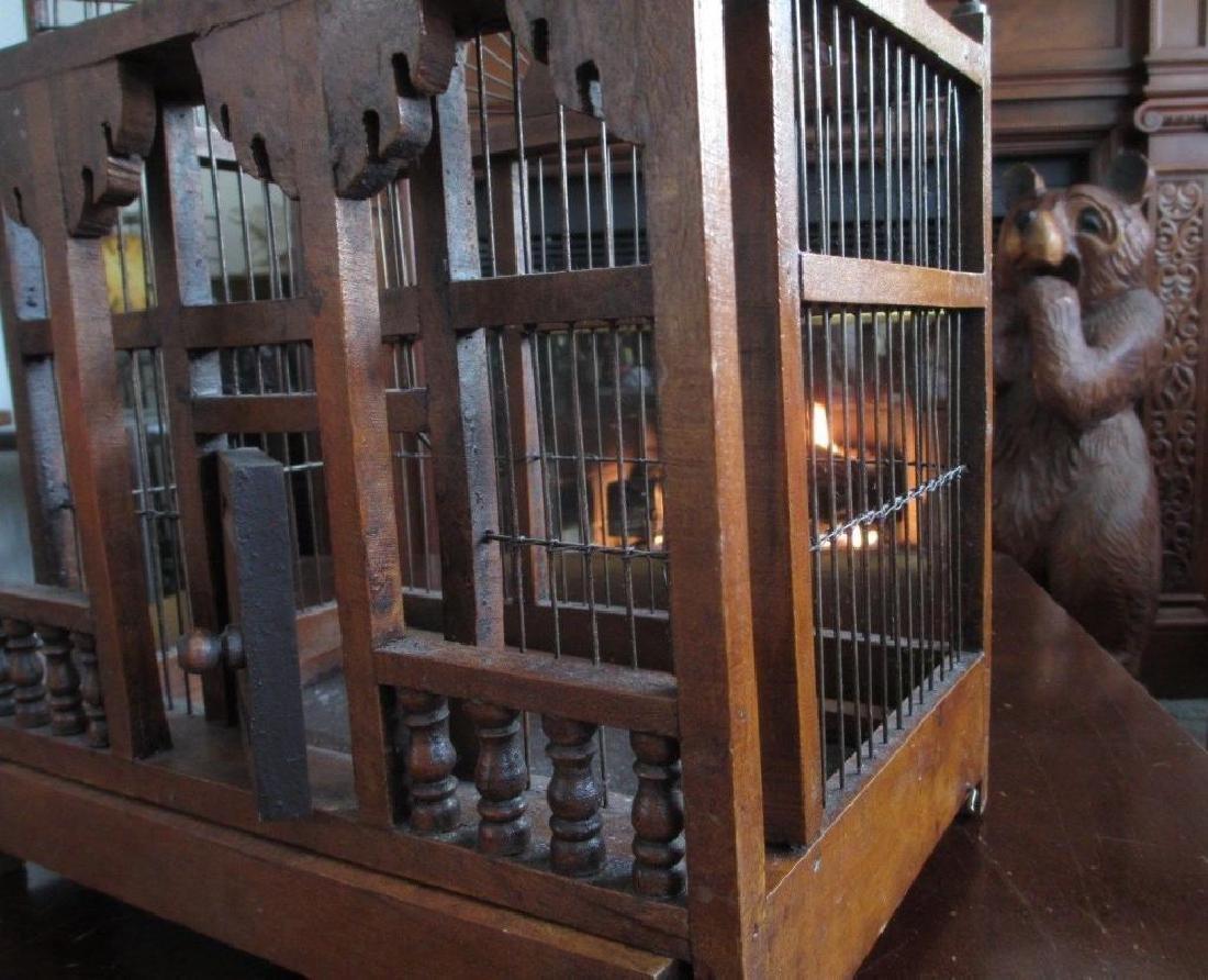 Rare Victorian Wooden Bird Cage - 4