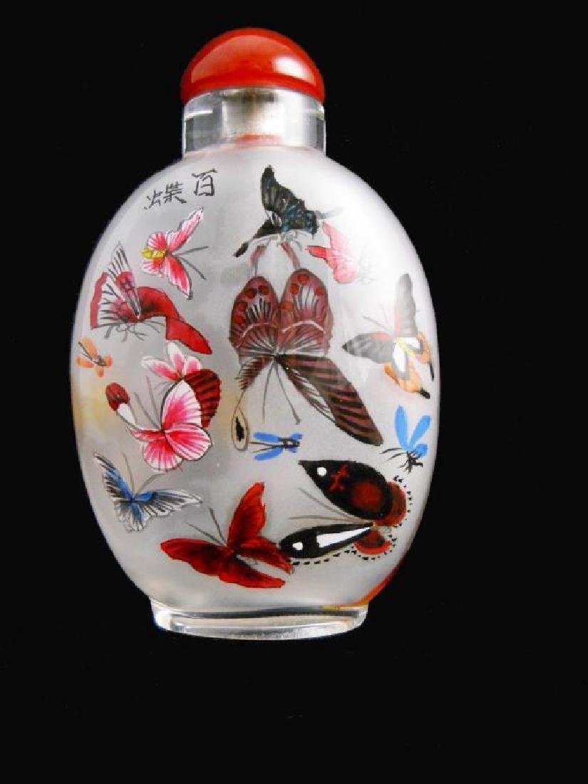Large Reverse Painted Butterflies Glass Bottle