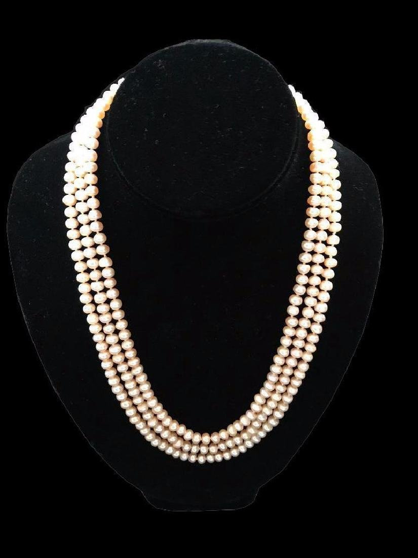 "20"" Triple Strand Pink Freshwater Pearl Sterling"