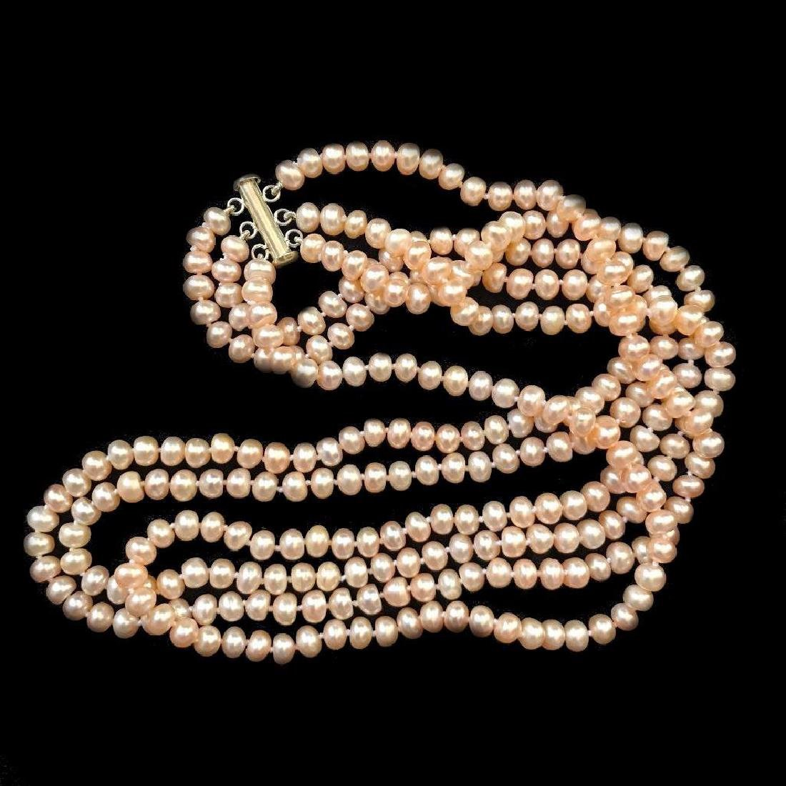 "20"" Triple Strand Pink Freshwater Pearl Sterling - 2"