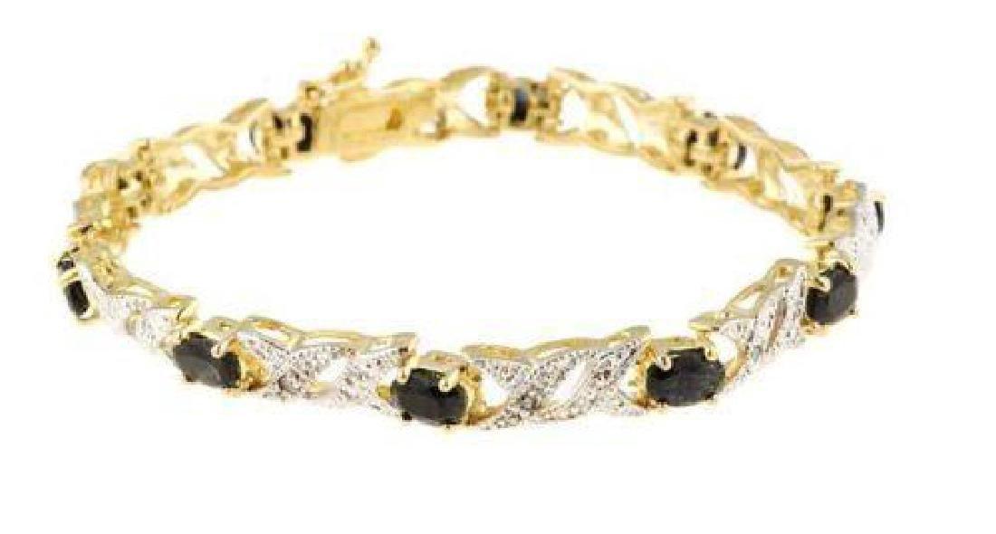 Black Sapphire & Diamond Bracelet