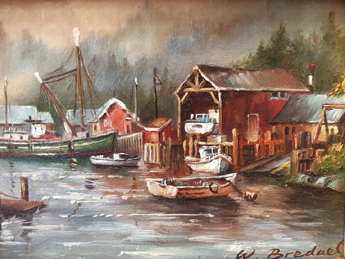 Signed Oil Painting, Fishing Boats & Village - 2