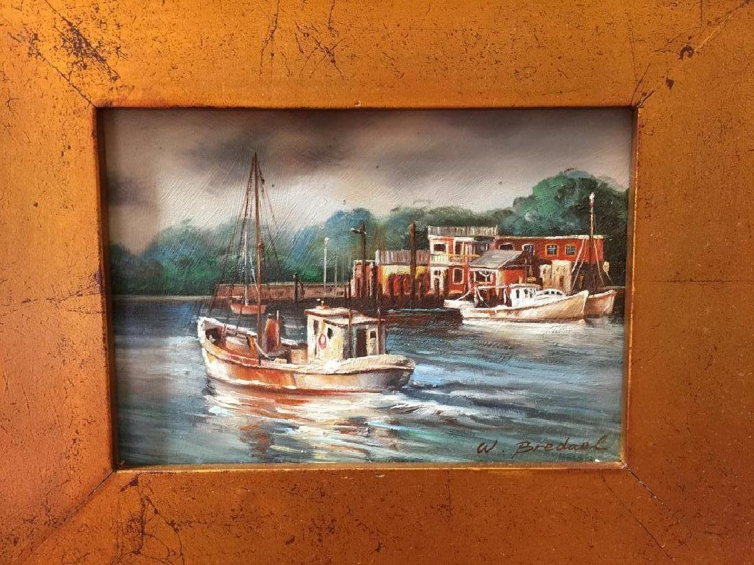 Signed Oil Painting, Fishing Boats & Village