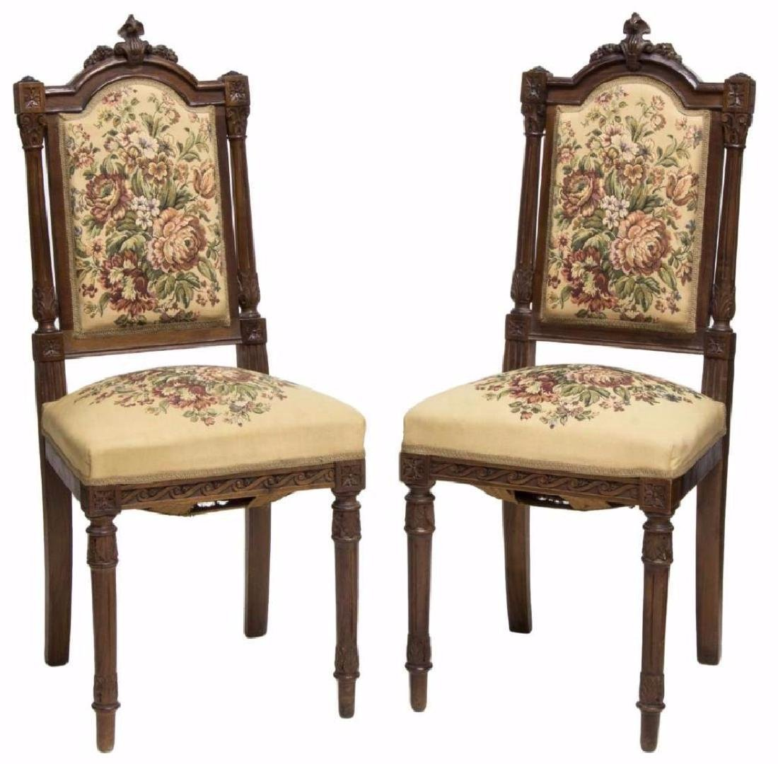 (2) VICTORIAN CARVED SIDE CHAIRS WITH NEEDLEPOINT