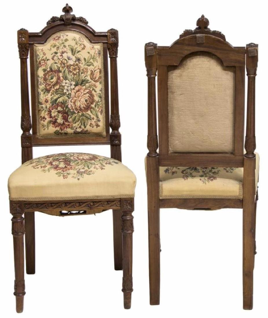 (2) VICTORIAN CARVED SIDE CHAIRS WITH NEEDLEPOINT - 2