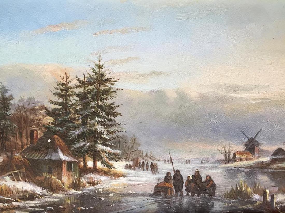 Dutch Winter Landscape Oil Painting - 2