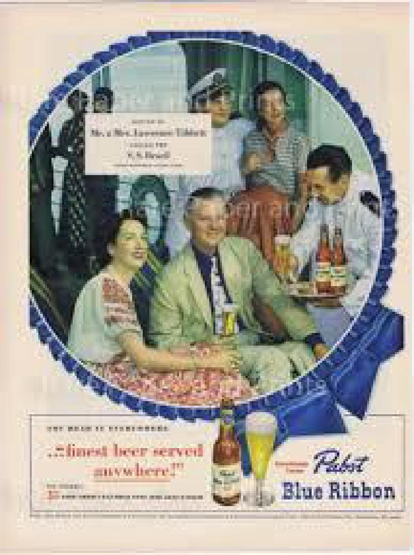 1949 Pabst Blue Ribbon Beer, S.s. Brazil, Ad
