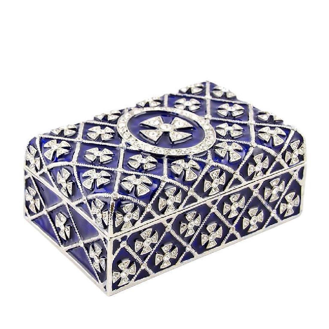 "3.75"" Cross Metal Rosary / Trinket Box"