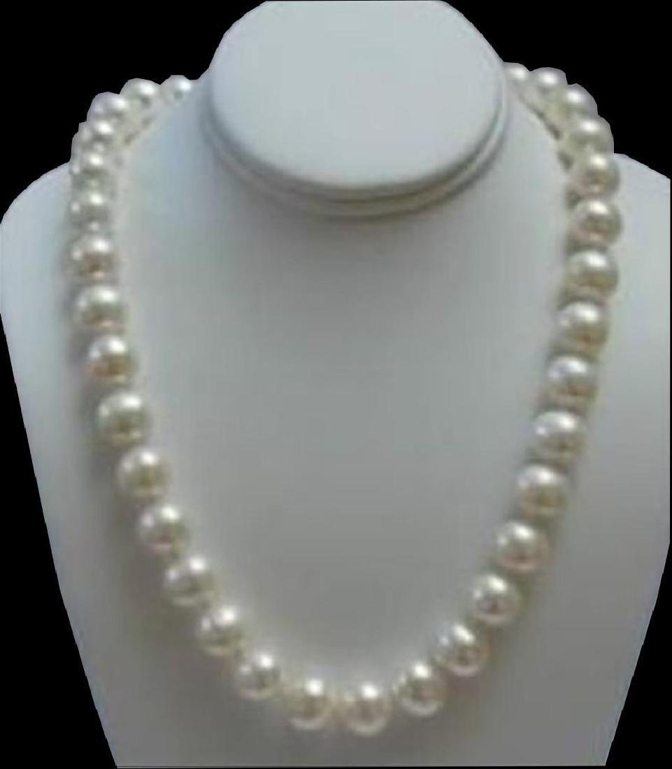 """9-10mm White Akoya Pearl Necklace 18"""" 14k Solid Gold"""