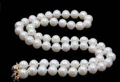 """Natural 9-10mm White South Sea Pearl Necklace 18"""" 14k"""